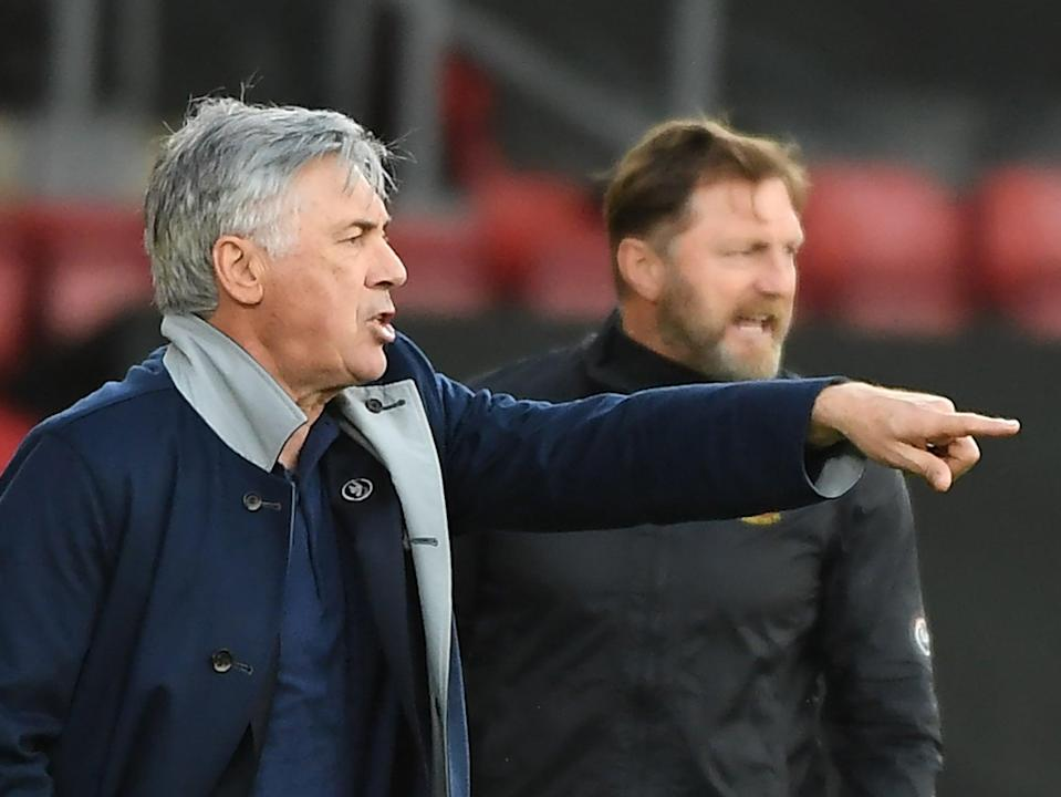 Everton coach Carlo Ancelotti (left) and Southampton manager Ralph Hasenhuttl (AFP via Getty Images)