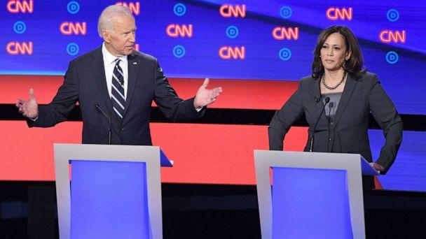 PHOTO: Democratic presidential hopefuls former Vice President Joe Biden and Sen. Kamala Harris speak during the second round of the second Democratic primary debate in Detroit, July 31, 2019. (Jim Watson/AFP/Getty Images)