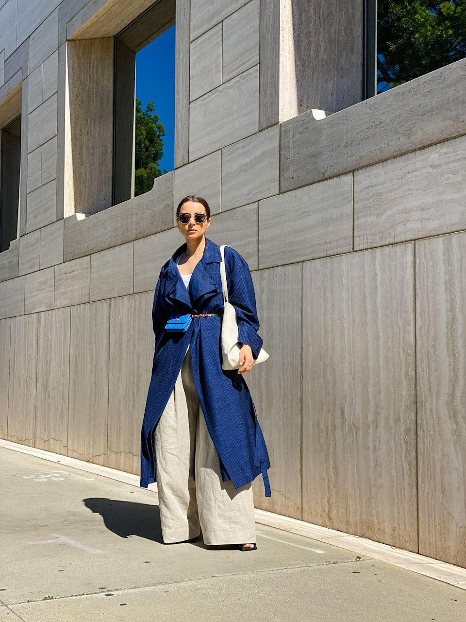 <p>The super-wide-leg style works well under a cinched-waist trench and with some heels for added height.</p>