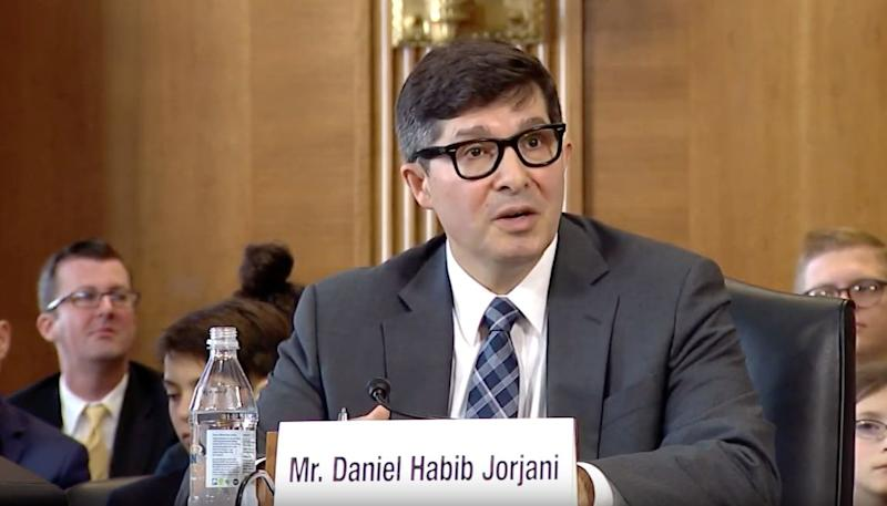 Daniel Jorjani, the nominee to serve as the Interior Department's top lawyer, appears before the Senate Energy and Natural Resources Committee on May 2. (Photo: YouTube/Senate Energy and Natural Resources Committee)