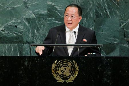 North Korean Foreign Minister Ri Yong-ho addresses the 72nd United Nations General Assembly at U.N. headquarters in New York, U.S., September 23, 2017. REUTERS/Eduardo Munoz
