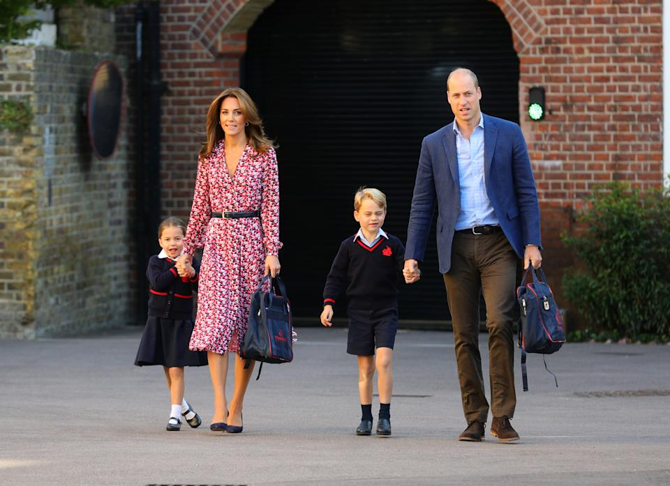 Princess Charlotte, with by her father, the Duke of Cambridge, and mother, the Duchess of Cambridge and Prince George, arriving for her first day of school at Thomas's Battersea in London.