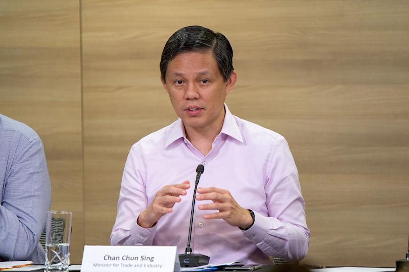 Minister for Trade and Industry Chan Chun Sing speaking at the Multi-Ministry press conference on Monday (27 January). (PHOTO: Dhany Osman / Yahoo News Singapore)