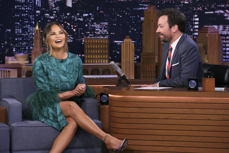 THE TONIGHT SHOW STARRING JIMMY FALLON -- Episode 1086 -- Pictured: (l-r) Television personality Chrissy Teigen during an interview with host Jimmy Fallon on June 24, 2019 -- (Photo by: Andrew Lipovsky/NBC/NBCU Photo Bank via Getty Images)