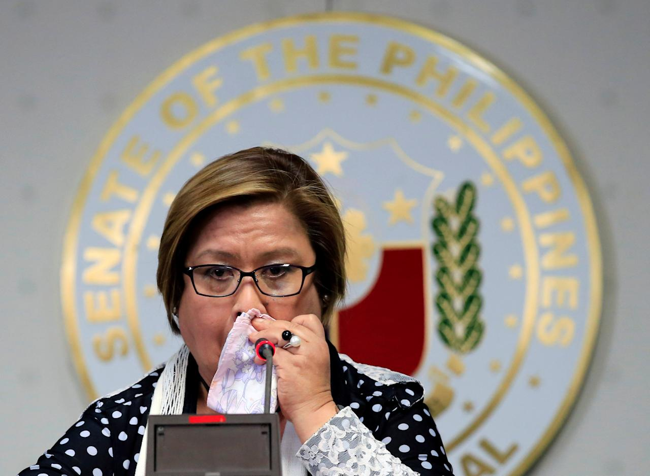 Philippine Senator Leila de Lima reacts after a Regional Trial Court (RTC) ordered her arrest, at the Senate headquarters in Pasay city, metro Manila, Philippines February 23, 2017. REUTERS/Romeo Ranoco