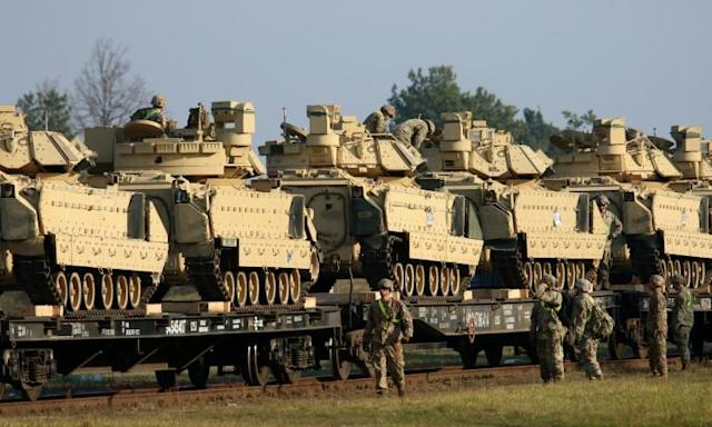 US military hardware arrives in Lithuania in 'message to Russia' (AFP Photo/Petras Malukas)