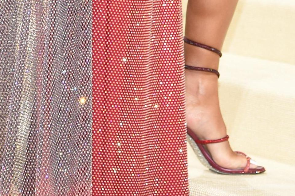 A closer view of Saweetie's sandals. - Credit: AP