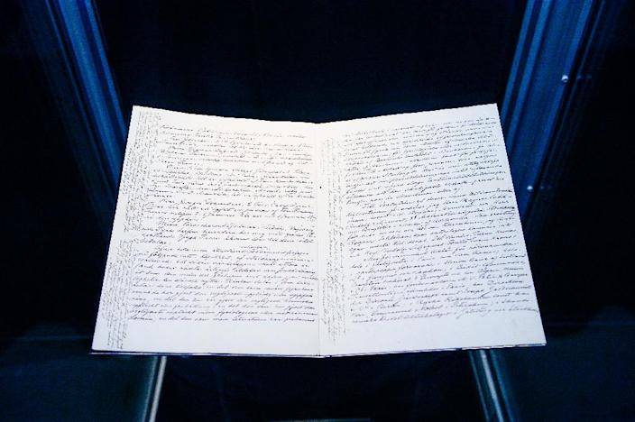 The last will and testament of Alfred Nobel is displayed at the Nobel Museum in the Old Town of Stockholm on March 17, 2015 (AFP Photo/Jonathan Nackstrand)