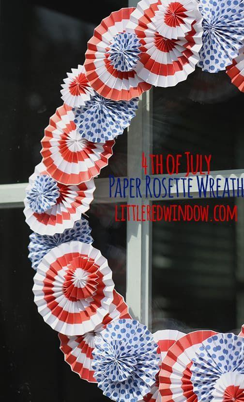 "<p>Take a trip down the paper aisle at the craft store to find some major patriotic paper inspiration.</p><p><strong>Get the tutorial at<a href=""https://littleredwindow.com/4th-of-july-paper-rosette-wreath/"" target=""_blank"">Little Red Window.</a>  </strong></p>"