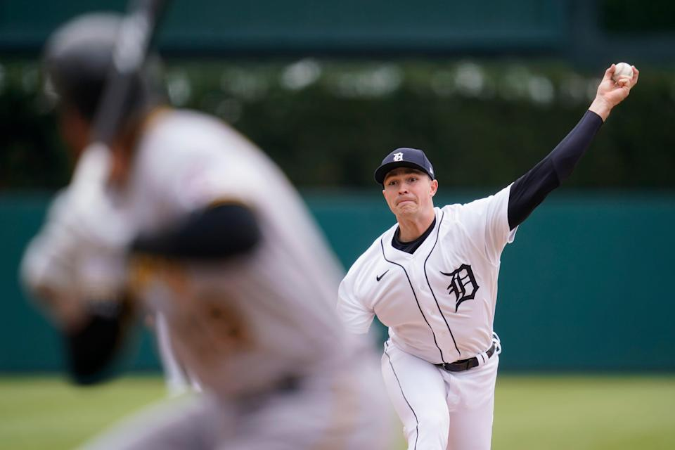Detroit Tigers pitcher Tarik Skubal throws against the Pittsburgh Pirates in the sixth inning during the first game of a doubleheader baseball game in Detroit, Wednesday, April 21, 2021.