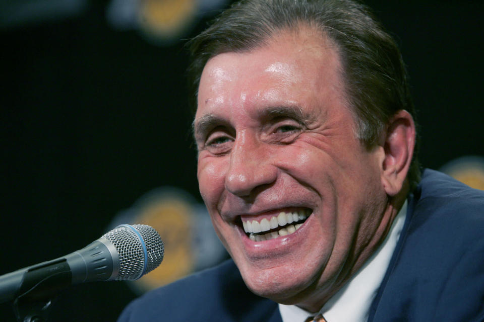 FILE - In this July 10, 2004 file photo, Two-time NBA champion Rudy Tomjanovich answers questions at a news conference after being named The Los Angeles Lakers new head coach in Los Angeles. Tomjanovich, Kobe Bryant and fellow NBA greats Tim Duncan and Kevin Garnett headlined a nine-person group announced Saturday, April 4, 2020, as this years class of enshrinees into the Naismith Memorial Basketball Hall of Fame. (AP Photo/Chris Carlson, File)
