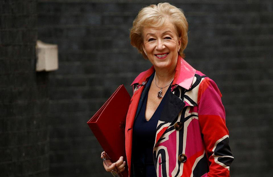 Britain's Business Secretary Andrea Leadsom is seen outside Downing Street in London, Britain, October 3, 2019. REUTERS/Henry Nicholls