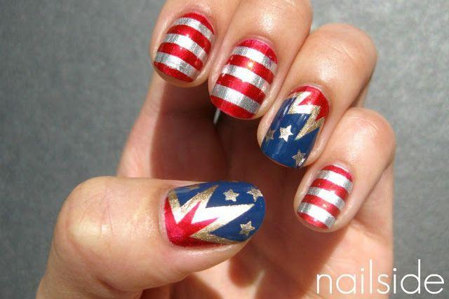 """<p>This <a href=""""http://nailside.blogspot.com/2011/06/tutorial-zigzag-pattern.html"""" rel=""""nofollow noopener"""" target=""""_blank"""" data-ylk=""""slk:zigzag pattern tutorial"""" class=""""link rapid-noclick-resp"""">zigzag pattern tutorial</a> creates the ultimate <em>Captain Marvel</em>-inspired manicure. Want to stand out even more? Swap in silver polish for white for that extra pop.</p><p><a class=""""link rapid-noclick-resp"""" href=""""https://www.amazon.com/Metallic-Holographic-Chevron-Pattern-Striping/dp/B01HIXU2G8/?tag=syn-yahoo-20&ascsubtag=%5Bartid%7C10055.g.1278%5Bsrc%7Cyahoo-us"""" rel=""""nofollow noopener"""" target=""""_blank"""" data-ylk=""""slk:SHOP METALLIC TAPE"""">SHOP METALLIC TAPE</a></p><p><a href=""""http://nailside.blogspot.com/2011/07/4th-of-july-nails.html"""" rel=""""nofollow noopener"""" target=""""_blank"""" data-ylk=""""slk:See more on Nailside »"""" class=""""link rapid-noclick-resp""""><em>See more on Nailside »</em></a></p>"""