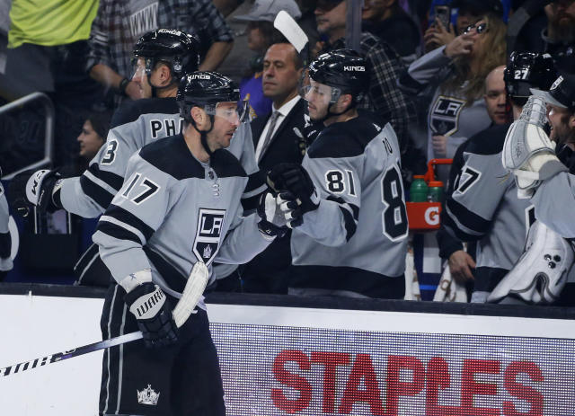 Los Angeles Kings forward Ilya Kovalchuk (17) is congratulated for his goal against Vegas Golden Knights during the first period of an NHL hockey game Saturday, April 6, 2019, in Los Angeles. (AP Photo/Ringo H.W. Chiu)