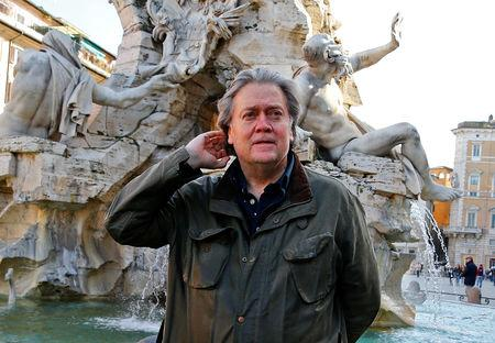 FILE PHOTO: U.S. President Donald Trump's former chief strategist Steve Bannon poses in Piazza Navona in Rome, Italy March 2, 2018. REUTERS/Tony Gentile/File Photo