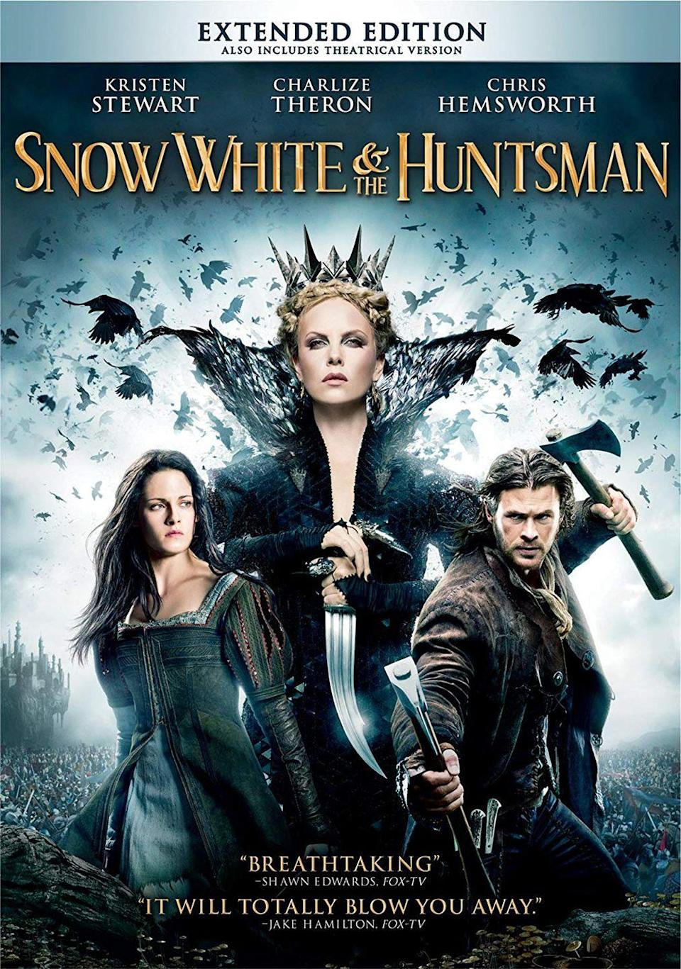 """<p>Is it cold in here or is it just ice queen Charlize Theron? She plays a very spooky villain in this dark twist on the beloved fairytale. </p><p><a class=""""link rapid-noclick-resp"""" href=""""https://www.amazon.com/Snow-White-Huntsman-Kristen-Stewart/dp/B008Y1RTUG/?tag=syn-yahoo-20&ascsubtag=%5Bartid%7C10050.g.25336174%5Bsrc%7Cyahoo-us"""" rel=""""nofollow noopener"""" target=""""_blank"""" data-ylk=""""slk:WATCH NOW"""">WATCH NOW</a></p>"""