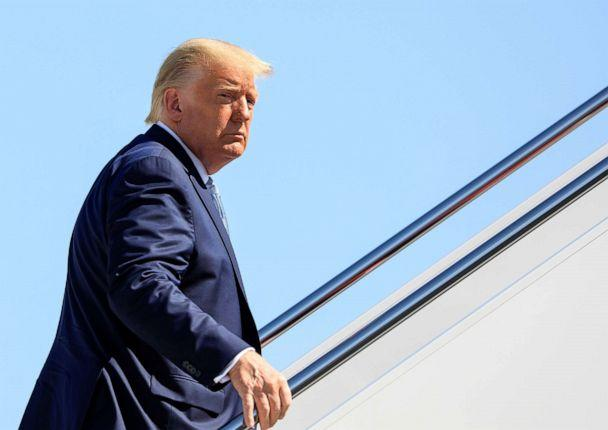 PHOTO: U.S. President Donald Trump boards Air Force One as he departs on travel to Iowa and Arizona at Joint Base Andrews, Md., Aug. 18, 2020. (Tom Brenner/Reuters, FILE)