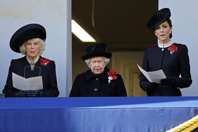 Camilla, Duchess of Cornwall, Queen Elizabeth and Kate Middleton