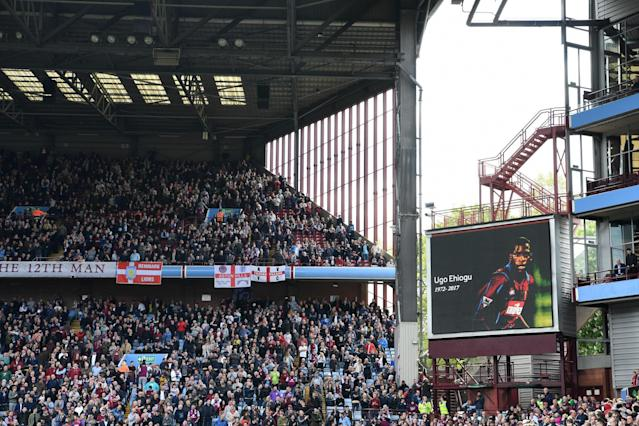 <p>Birmingham and Aston Villa fans pay tribute to Ehiogu, the former Villa man, before Sunday's midlands derby clash </p>