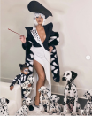 <p>As Cruella DeVil and her Dalmatian.</p>