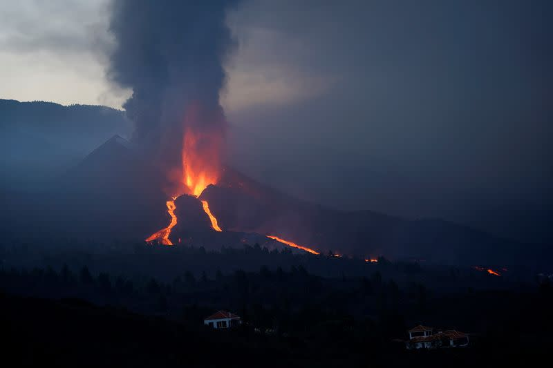 The Cumbre Vieja volcano continues to erupt on the Canary Island of La Palma, as seen from Tacande