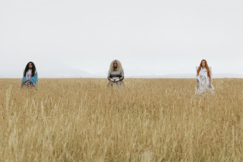 From left, Mrs. Who (Mindy Kaling), Mrs. Which (Oprah Winfrey), and Mrs. Whatsit (Reese Witherspoon) in <i>A Wrinkle in Time</i>. (Photo: Disney)