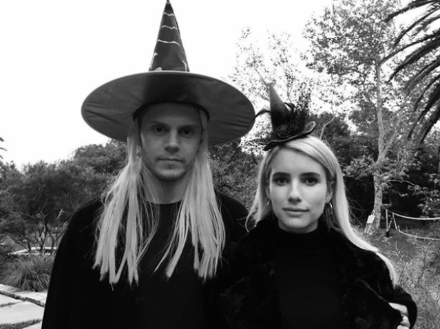 """<p>The actress and her boyfriend, Evan Peters, did the couple costume thing. """"Happy Halloween from one wetch to another,"""" she wrote. We love that he copied her locks. (Photo: <a href=""""https://www.instagram.com/p/Ba7vNQVF3yh/?hl=en&taken-by=emmaroberts"""" rel=""""nofollow noopener"""" target=""""_blank"""" data-ylk=""""slk:Emma Roberts via Instagram"""" class=""""link rapid-noclick-resp"""">Emma Roberts via Instagram</a>) </p>"""