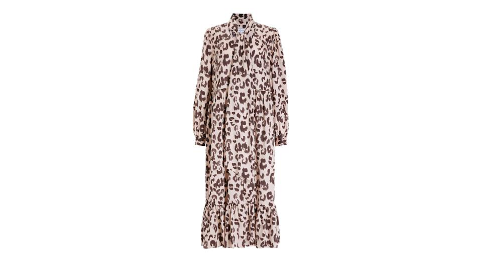 Mother of Pearl Tencel Tie Neck Leopard Print Dress