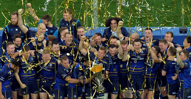Rugby Union - European Champions Cup Final - Leinster Rugby v Racing 92 - San Mames, Bilbao, Spain - May 12, 2018 Leinster Rugby celebrate with the trophy after winning the European Champions Cup REUTERS/Vincent West