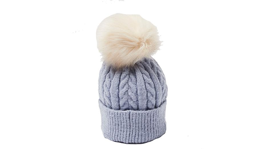 Cable Knit & Pom Blue Beanie Hat