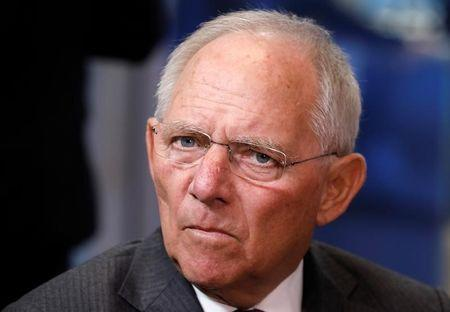 German Finance Minister Wolfgang Schaeuble takes part in a eurozone finance ministers meeting in Brussels