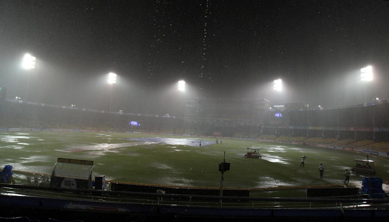 Rains disrupt CLt20 match between Titans and Trinidad & Tobago at Sardar Patel Stadium in Ahmedabad where Trinidad & Tobago were declared the winners.  (Photo: IANS)