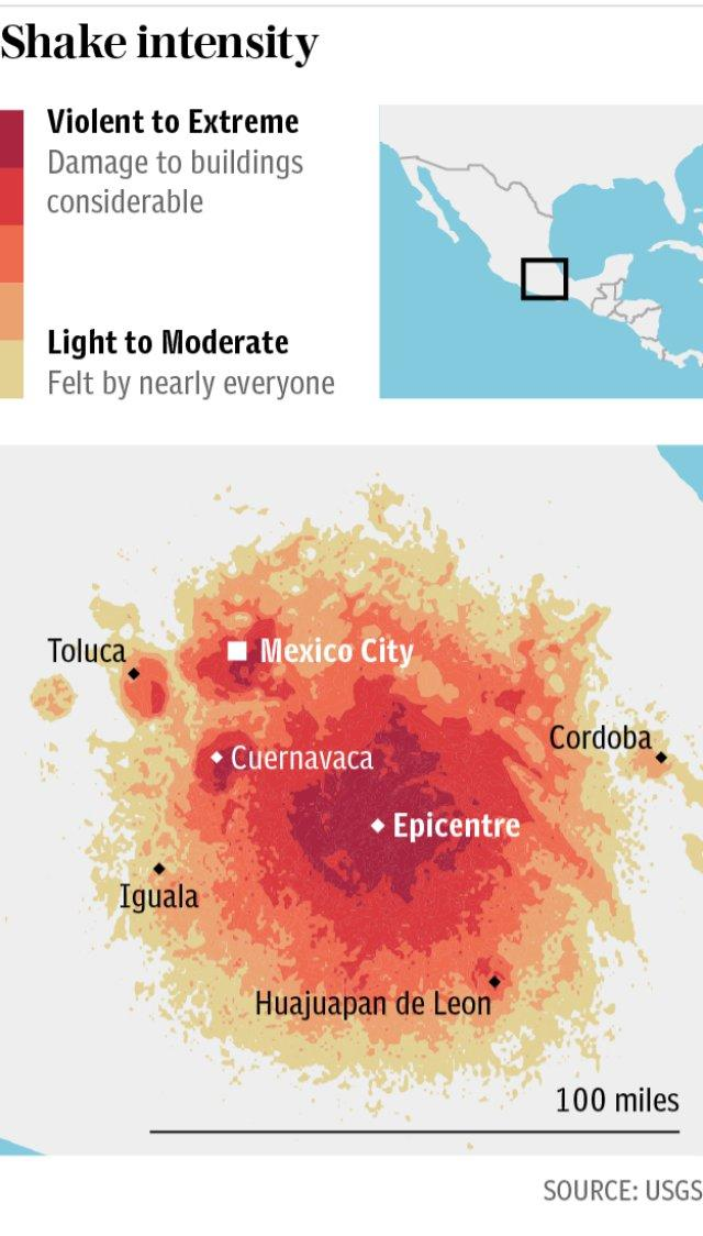Mexico earthquake: Shake intensity