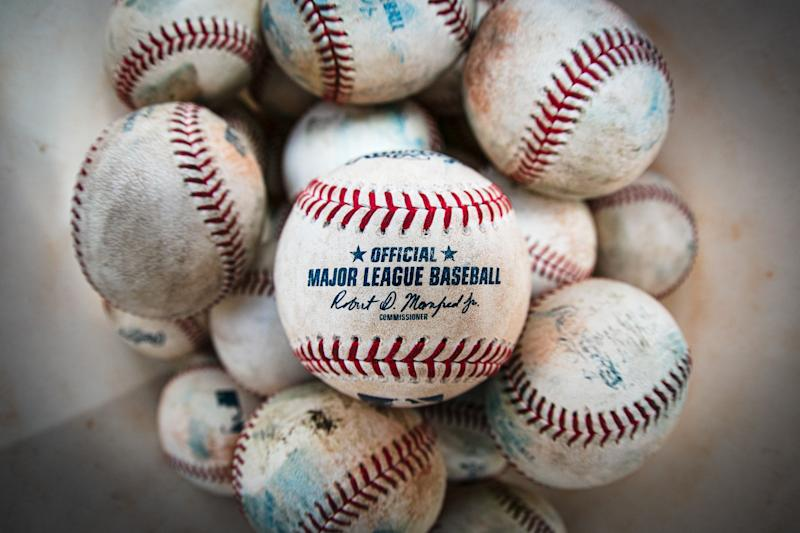 Aug 17, 2019; Kansas City, MO, USA; Official MLB baseballs sit in a bucket during batting practice before a game between the Kansas City Royals and the New York Mets at Kauffman Stadium. Mandatory Credit: William Purnell-USA TODAY Sports