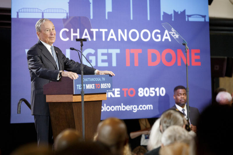 Democratic presidential candidate Mike Bloomberg speaks during a rally at the Bessie Smith Cultural Center on Wednesday, Feb. 12, 2020 in Chattanooga, Tenn.(C.B. Schmelter /Chattanooga Times Free Press via AP)