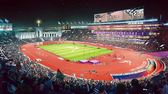 <p>Track and Field events at the L.A. Coliseum are shown in this Downtown Sports Park rendering. (Photo: Courtesy LA 2024) </p>