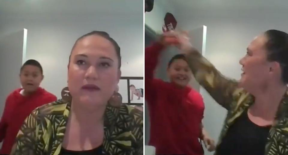 Carmel Sepuloni, NZ Minister for Social Development, trying to take an offending carrot from her son. Source: Radio Samoa via Twitter/@CarmelSepuloni
