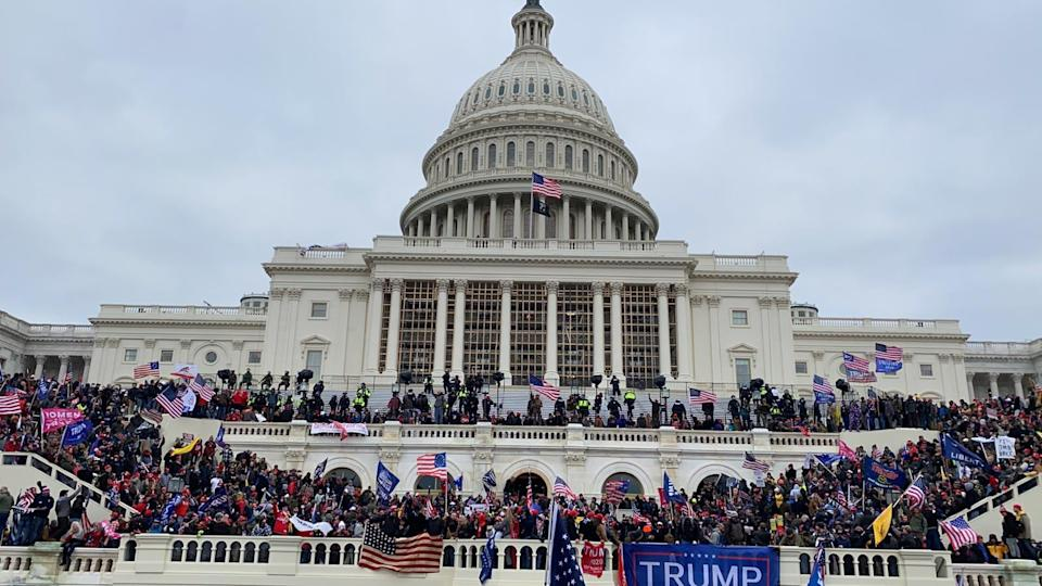 U.S. President Donald Trumps supporters gather outside the Capitol building in Washington D.C., United States on January 06, 2021. (Photo by Tayfun Coskun/Anadolu Agency via Getty Images)