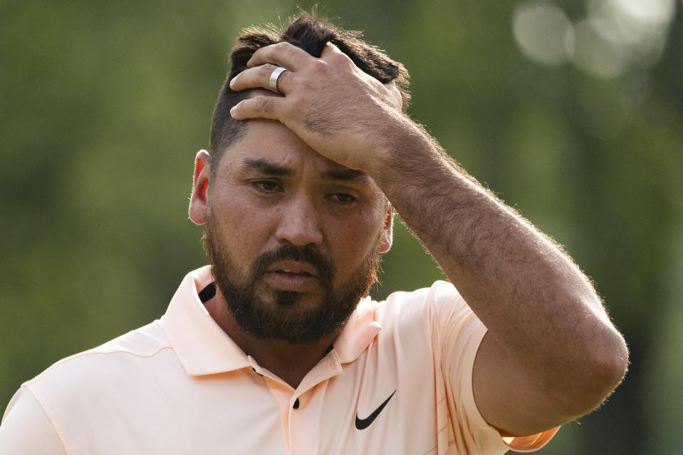 Jason Day reacts after sinking his final putt overall on the ninth green during the second round of the Travelers Championship golf tournament at TPC River Highlands, Friday, June 25, 2021, in Cromwell, Conn. (AP Photo/John Minchillo)