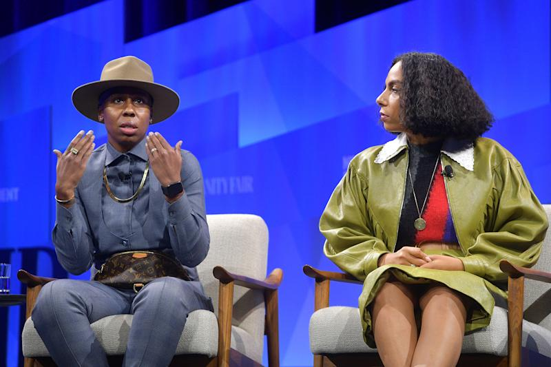 "BEVERLY HILLS, CALIFORNIA - OCTOBER 22: (L-R) Lena Waithe and Melina Matsoukas speak onstage during 'V.F. Sneak Peek: ""Queen & Slim""' at Vanity Fair's 6th Annual New Establishment Summit at Wallis Annenberg Center for the Performing Arts on October 22, 2019 in Beverly Hills, California. (Photo by Matt Winkelmeyer/Getty Images for Vanity Fair)"