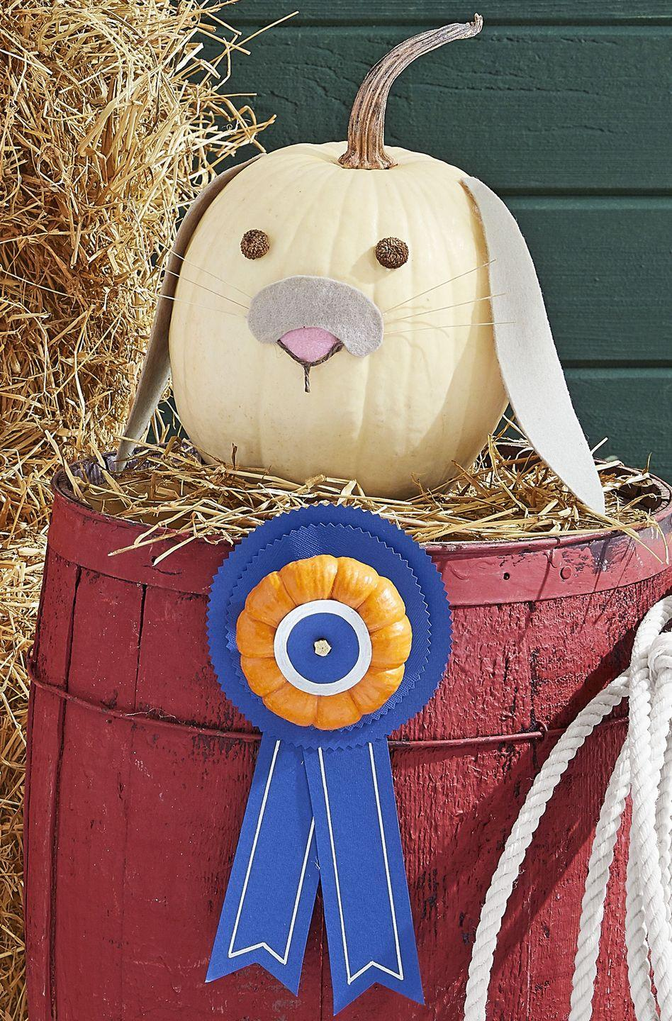 """<p>Every-bunny will love seeing this adorable decoration. <strong><br></strong></p><p><strong>Make the pumpkin:</strong> Download our <a href=""""https://hmg-prod.s3.amazonaws.com/files/pumpkin-carving-template-bunny-ears-1018-1536169820.pdf?tag=syn-yahoo-20&ascsubtag=%5Bartid%7C10050.g.28437255%5Bsrc%7Cyahoo-us"""" rel=""""nofollow noopener"""" target=""""_blank"""" data-ylk=""""slk:ears"""" class=""""link rapid-noclick-resp"""">ears</a> and <a href=""""https://hmg-prod.s3.amazonaws.com/files/pumpkin-carving-template-bunny-nose-1018-1536169820.pdf?tag=syn-yahoo-20&ascsubtag=%5Bartid%7C10050.g.28437255%5Bsrc%7Cyahoo-us"""" rel=""""nofollow noopener"""" target=""""_blank"""" data-ylk=""""slk:top nose"""" class=""""link rapid-noclick-resp"""">top nose</a> templates to trace on <a href=""""https://www.amazon.com/Rainbow-Classic-Felt-Silver-Gray/dp/B0033LWUE2?tag=syn-yahoo-20&ascsubtag=%5Bartid%7C10050.g.28437255%5Bsrc%7Cyahoo-us"""" rel=""""nofollow noopener"""" target=""""_blank"""" data-ylk=""""slk:gray felt"""" class=""""link rapid-noclick-resp"""">gray felt</a>, scaling up or down based on the size of your pumpkin; cut out. Trace the separate nose """"button"""" on pink felt and cut out, again sizing accordingly. Hot-glue the pink nose button on the center of a white pumpkin. Using craft glue, attach twigs from wheat stalks to the back of the gray nose top. Glue on top of the pink button, overlapping slightly. Outline the bottom of the nose with <a href=""""https://www.amazon.com/Tandy-Leather-Waxed-Thread-11207-03/dp/B001QJNMPY/ref=sr_1_12?tag=syn-yahoo-20&ascsubtag=%5Bartid%7C10050.g.28437255%5Bsrc%7Cyahoo-us"""" rel=""""nofollow noopener"""" target=""""_blank"""" data-ylk=""""slk:brown twine"""" class=""""link rapid-noclick-resp"""">brown twine</a> and attach with hot glue. Attach the ears and <a href=""""https://www.amazon.com/SAMYO-Simulation-Artificial-Nutty-brown-Decoration/dp/B011XVKA9U?tag=syn-yahoo-20&ascsubtag=%5Bartid%7C10050.g.28437255%5Bsrc%7Cyahoo-us"""" rel=""""nofollow noopener"""" target=""""_blank"""" data-ylk=""""slk:acorn tops"""" class=""""link rapid-noclick-resp"""">acorn tops</a> for eyes with """