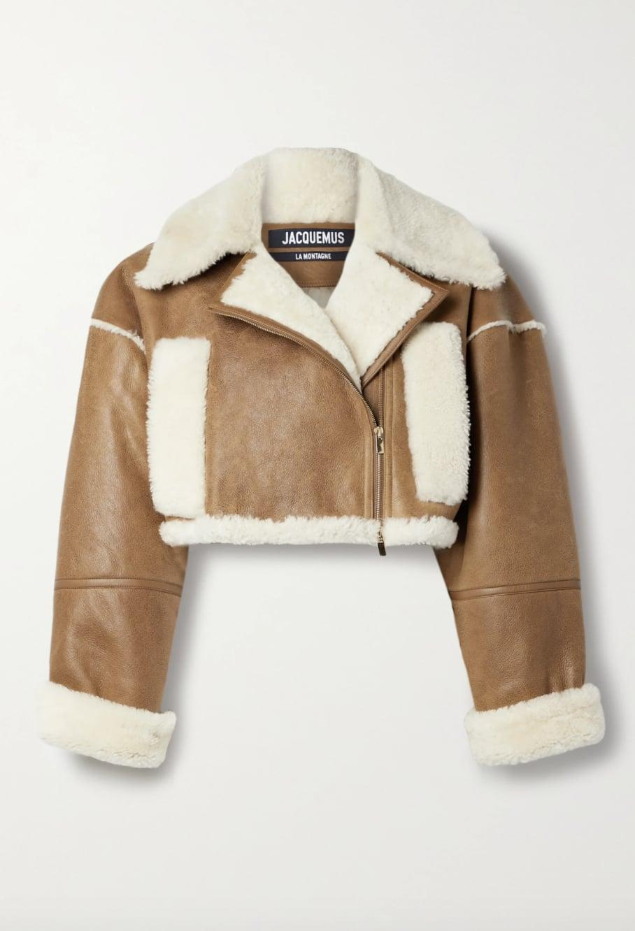 <p><span>Jacquemus Cropped Textured-Leather and Shearling Biker Jacket</span> ($3,215) </p>