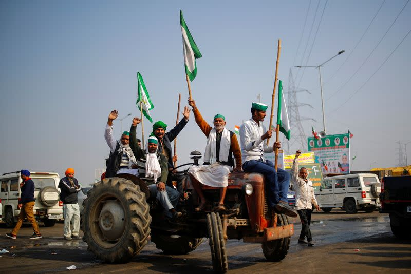 Protest against farm bills passed by India's parliament in Ghaziabad