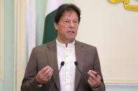 FILE PHOTO: Pakistan's Prime Minister Imran Khan speaks during a joint news conference with Malaysia's Prime Minister Mahathir Mohamad (not pictured) in Putrajaya