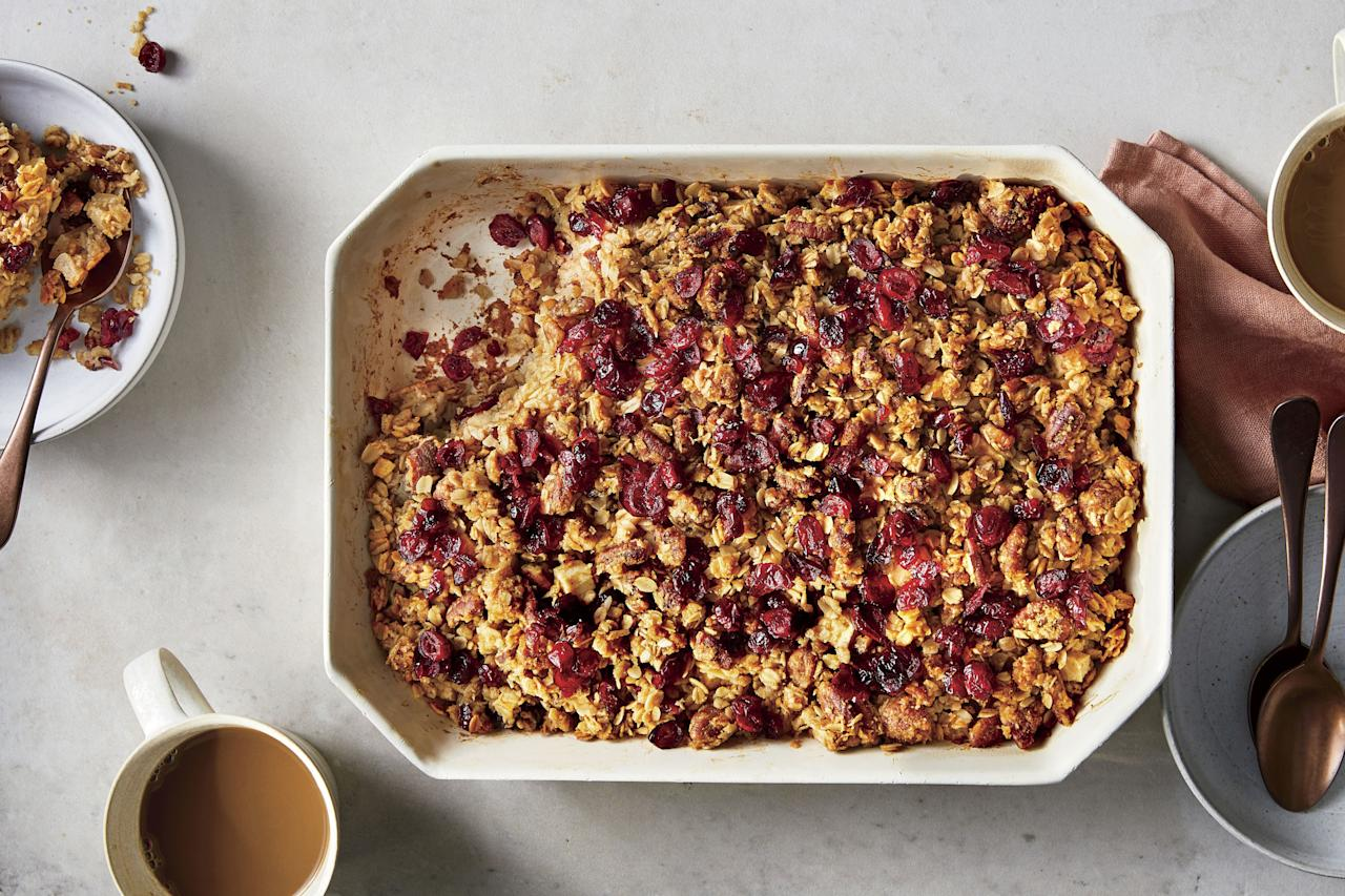 "<p><b>Recipe: <a href=""https://www.southernliving.com/recipes/baked-oatmeal-apples-cranberries-pecans"">Baked Oatmeal with Apple, Cranberries, and Pecans</a></b></p>"