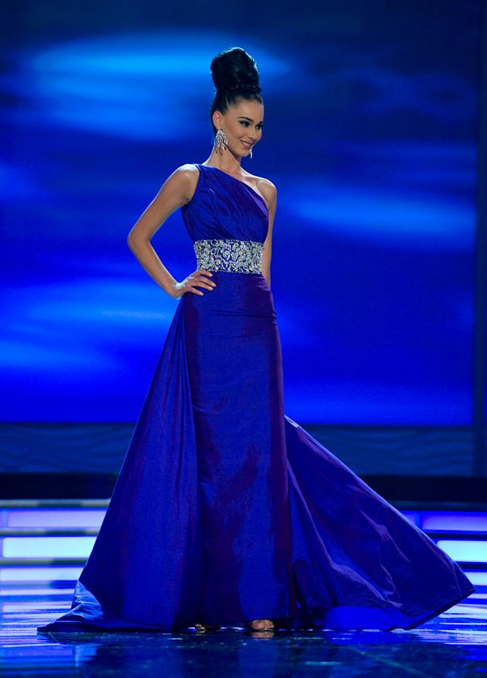 Gona Dragusha, Miss Kosovo 2009, competes as a top 10 finalist in an evening gown of her choice during the 58th annual Miss Universe competition from Atlantis, Paradise Island, Bahamas.