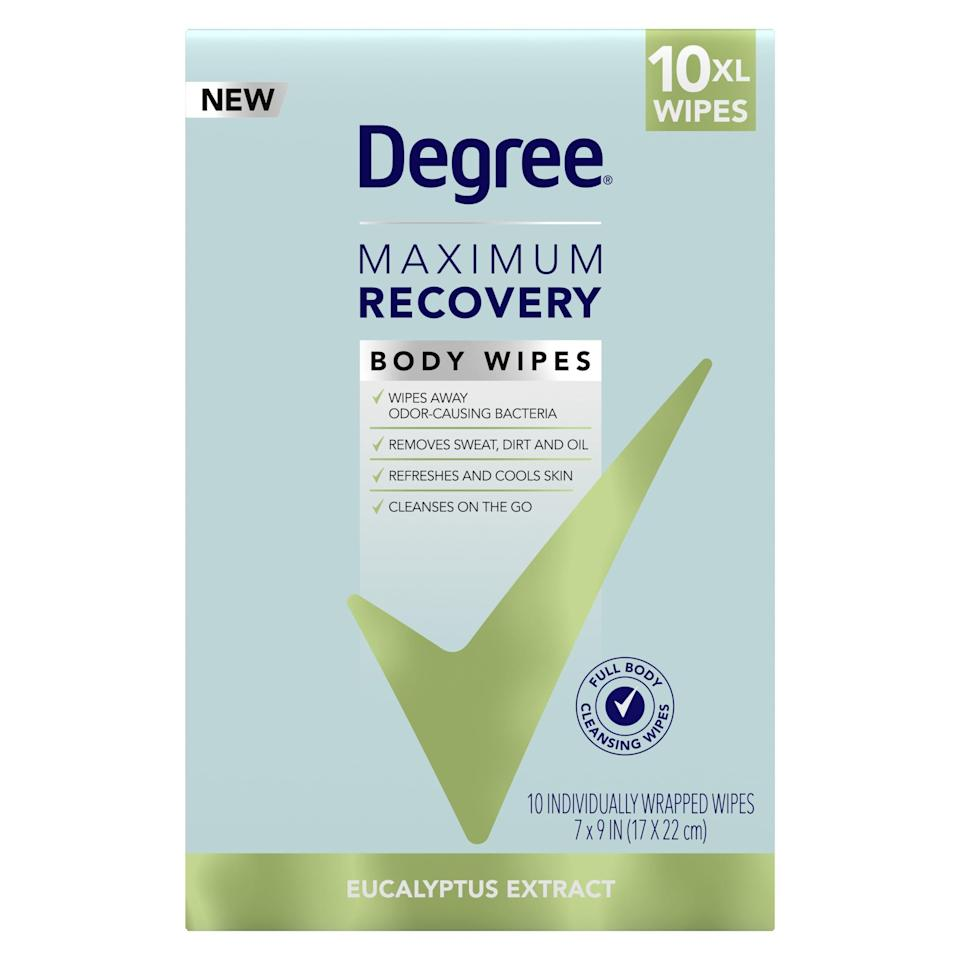 """<p>""""I like to cut it close with when my morning workouts end and when I need to log on for work, and I don't always have time for a full shower. These <span>Degree Maximum Recovery Body Wipes in Eucalyptus</span> ($6) have come in clutch to help me do a quick refresh before a long day of (Zoom) meetings. The eucalyptus scent is refreshing, and the wipes are just big enough to hit every spot you need to. These will also be nice to throw in my gym back when I make it back to my favorite fitness studios."""" - Christina Stiehl, senior editor, Fitness</p>"""