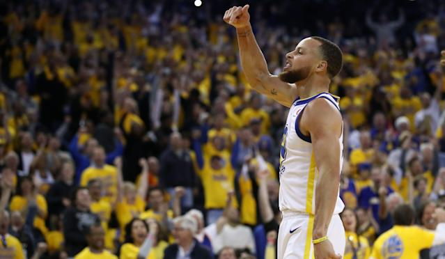 "<a class=""link rapid-noclick-resp"" href=""/nba/players/4612/"" data-ylk=""slk:Steph Curry"">Steph Curry</a> hit nine three-pointers in Game 2 of the Finals, breaking the NBA record. (Yahoo Magazine PYC)"