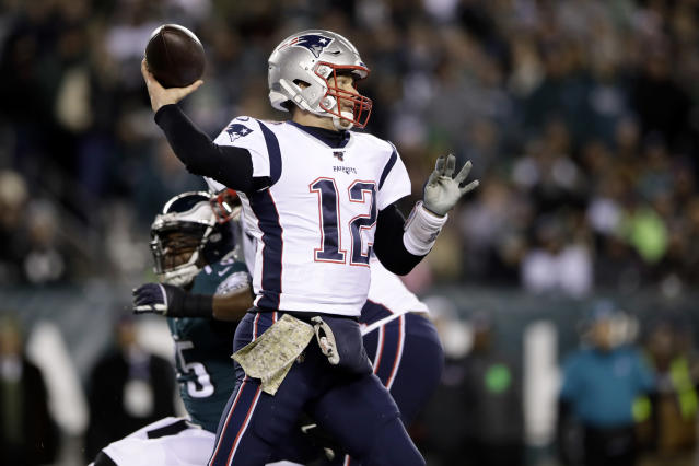 New England Patriots' Tom Brady passes during the first half of an NFL football game against the Philadelphia Eagles, Sunday, Nov. 17, 2019, in Philadelphia. (AP Photo/Matt Rourke)