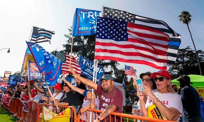 Trump supporters during a rally in Beverly Hills, California, 10 October 2020.
